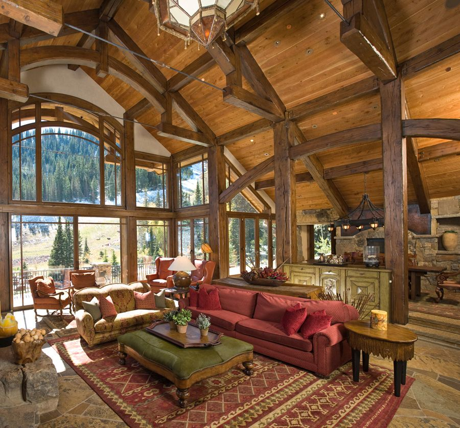 Vaulted ceilings that incorporate beams are super dramatic.