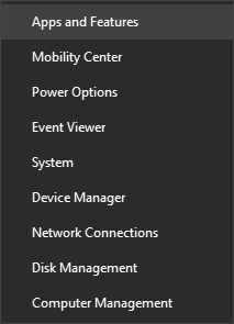 Screenshot of start menu showing Apps and Features