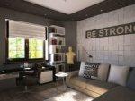 Комната для молодого парня – интерьер спальни для парня 20 лет, для холостяка в современном стиле, мужской однокомнатной квартиры